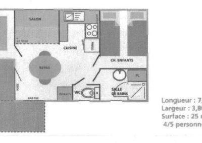 Plan du Chalet mobile home Pacifique 1