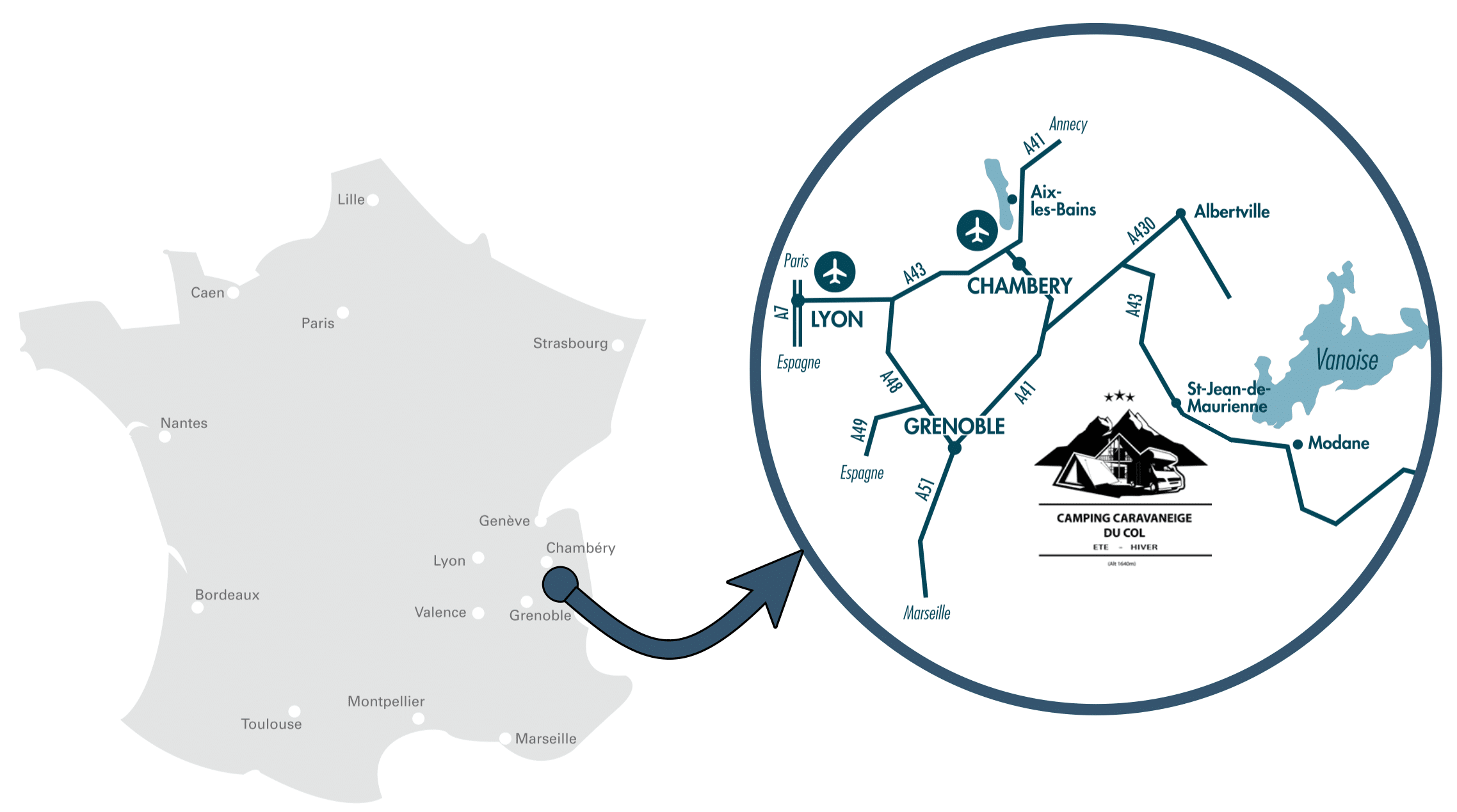 Accès au Camping du Col de la Toussuire les Sybelles